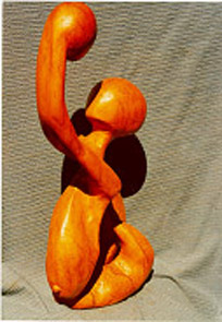 Mother and child Sculpture: Wood (Olive, Mutero) Inipired by mothers love. One of Kamunya's earliest pieces. Expressive line. Style: Abstract Theme: Universal love african sculpture art by Kenyan artist based in Nairobi.