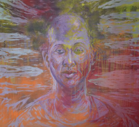Aura - African Acrylic on Canvas Painting for sale
