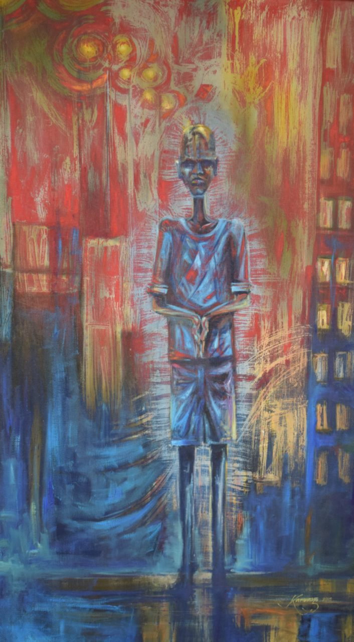 Going Out - African Mixed Medium on Canvas Painting For Sale