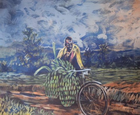 Market Day - African Acrylic on Canvas Painting For Sale