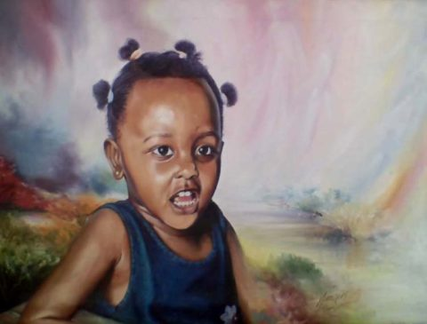 Young girl Painting: Oil on canvas One of my early pieces. colour approaches have evolved. Style: Realism Theme: Portrait - Portrait by Kenyan Artist in Nairobi, Kenya