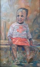 Pretty Girl Painting: Oil on canvas Playful use of colour to capture simple joys . Style: Impressionism Theme: Portrait - Portrait by Kenyan Artist in Nairobi, Kenya