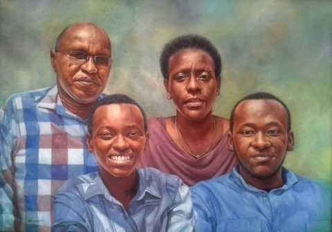 Family portrait Painting: Oil on canvas Outdoor lighting. sunny garden. Style: Realism Theme: Portrait - Portrait by Kenyan Artist in Nairobi, Kenya