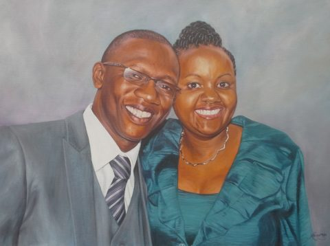 Couple Painting: Oil on canvas Fabric texture, satin shimmer. Style: Realism Theme: Portrait - Portrait by Kenyan Artist in Nairobi, Kenya