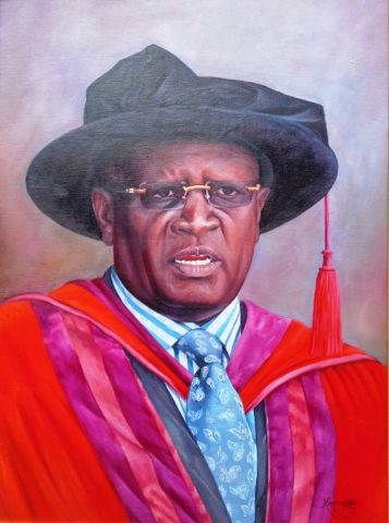 Vice Chancellor Painting: Oil on canvas Regalia. Education is power. Style: Realism Theme: Portrait - Portrait by Kenyan Artist in Nairobi, Kenya