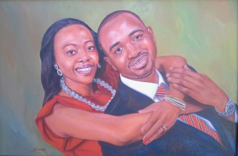 Lovers Painting: Oil on canvas Wedding things. Green red contrast. Style: Realism Theme: Portrait - Portrait by Kenyan Artist in Nairobi, Kenya