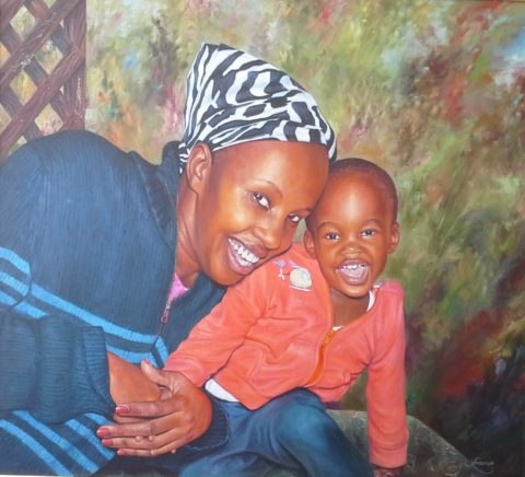 Terrace, outdoors Painting: Oil on canvas Dramatic garden lighting. Cozy homely feel. Style: Realism Theme: Portrait - Portrait by Kenyan Artist in Nairobi, Kenya
