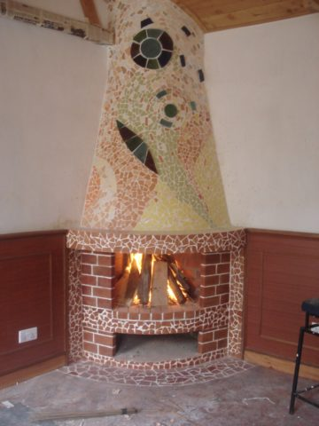 Fireplace Mosaic: Ceramic tile Fire elements, earth, wood, mixed media installation in Kenya Style: Abstract Theme: Fire african mosaic art by Kenyan artist