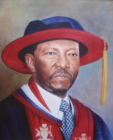 Chancellor Painting: Oil on canvas Regalia. Education is power. Style: Realism Theme: Portrait - Portrait by Kenyan Artist in Nairobi, Kenya