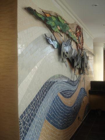 Mara crossing Mosaic: Ceramic tiles Style: Stylised Theme: Nature african mosaic art by Kenyan artist