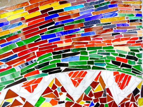 Glass mosaic, detail Mosaic: Stained glass Style: Abstract Theme: River, water flow african mosaic art by Kenyan artist