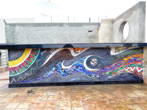 Glass mosaic Mosaic: Stained glass Style: Abstract Theme: River, water flow african mosaic art by Kenyan artist
