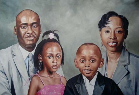 Family Painting: Oil on canvas Family composition. Style: Realism Theme: Portrait - Portrait by Kenyan Artist in Nairobi, Kenya