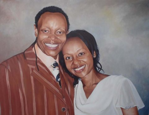 Lovely Painting: Oil on canvas Love. Skin tone, hair and fabric study. Style: Realism Theme: Portrait - Portrait by Kenyan Artist in Nairobi, Kenya
