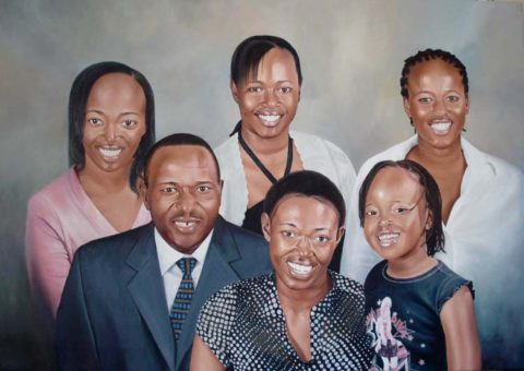 Family Painting: Oil on canvas All smiles. Patterns on mums blouse. Style: Realism Theme: Portrait - Portrait by Kenyan Artist in Nairobi, Kenya