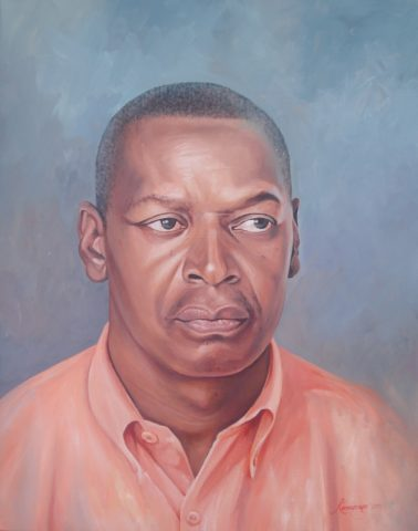 Keen Painting: Oil on canvas Complimentary colours, blue and orange. Style: Realism Theme: Portrait - Portrait by Kenyan Artist in Nairobi, Kenya