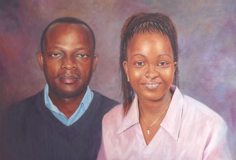 Love Painting: Oil on canvas Radiant faces, Lilac was used to create light presence. lovely couple. Style: Realism Theme: Portrait - Portrait by Kenyan Artist in Nairobi, Kenya