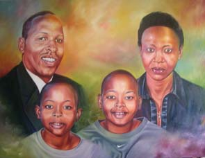 Colourful Family Painting: Oil on canvas This piece borrowed its colour application from water colour washes. Style: Realism Theme: Portrait - Portrait by Kenyan Artist in Nairobi, Kenya