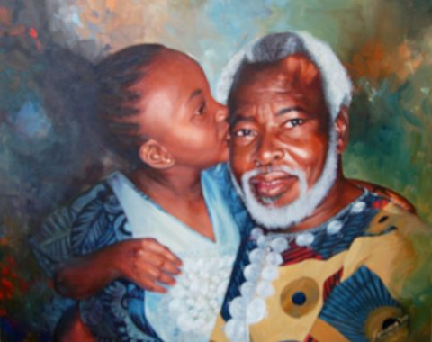 Generations Painting: Oil on canvas Love, contrast between ages. a gift from fellow elders Tags: Kenya Style: Realism Theme: Portrait - Portrait by Kenyan Artist in Nairobi, Kenya