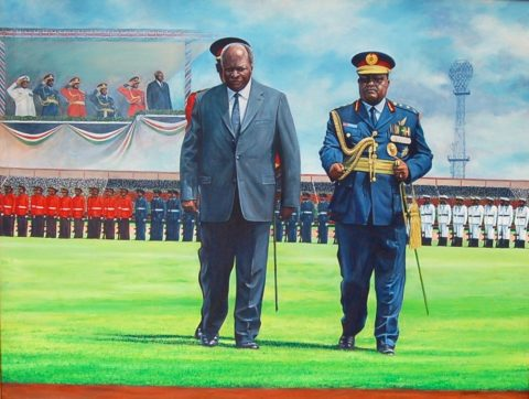 President of the Republic of Kenya Painting: Oil on canvas Exploration of a formal state gift. Repetation was a powerful tool. Perspective expressed space and movement. Style: Realism Theme: Portrait - Portrait by Kenyan Artist in Nairobi, Kenya