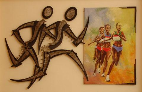 Marathon Installation: Steel and painting on canvas Lounge, Parklands sports club, Nairobi Style: Modern Theme: Sports African Installation Art Piece by Kenyan Artist.