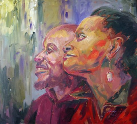 Expression Painting: Acrylic on canvas Absalom Aswani. Gazing. Used colour chroma to express form. Style: Expressionism Theme: Portrait - Portrait by Kenyan Artist in Nairobi, Kenya