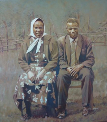 60's couple Painting: Oil on canvas Painted after a black and white photo. used sepia monochrome hues to to express the era when the picture was taken. Tags: Fashion, village, Kenya Style: Realism Theme: Portrait - Portrait by Kenyan Artist in Nairobi, Kenya