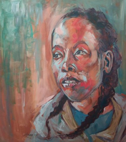 Labdi, Orutu musician Painting: Oil on canvas Music and art describe Labdi Ommes. Her music is an explosion of colour. Style: Expressionism Theme: Portrait - Portrait by Kenyan Artist in Nairobi, Kenya