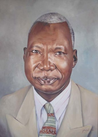 Mzee Painting: Oil on canvas My friends dad. Grey hair was a new subject. Style: Realism Theme: Portrait - Portrait by Kenyan Artist in Nairobi, Kenya