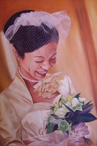 Masami Painting: Oil on canvas Beautiful lady on her wedding day. The flowers, fabric, veil and curtains offered an exploration of different textures. Style: Realism Theme: Portrait - Portrait by Kenyan Artist in Nairobi, Kenya