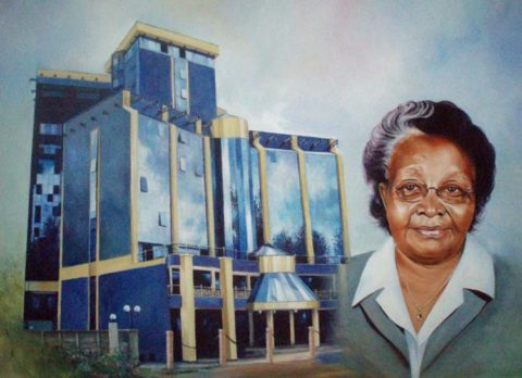Launch Painting: Oil on canvas Architecture and portraiture. The piece was presented on the opening of the building. Style: Realism Theme: Portrait - Portrait by Kenyan Artist in Nairobi, Kenya