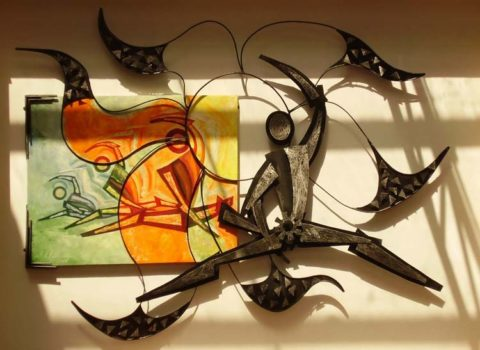 Energy Installation: Steel and painting on canvas Style: Modern Theme: Sports African Installation Art Piece by Kenyan Artist.