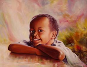 Happy boy Painting: Oil on canvas Smiling boy. The background explored imaginary expressionist representation of the garden. Style: Realism Theme: Portrait - Portrait by Kenyan Artist in Nairobi, Kenya