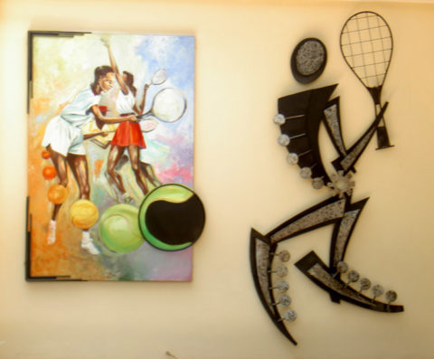 Tennis Installation: Steel and painting on canvas Style: Modern Theme: Sports African Installation Art Piece by Kenyan Artist.