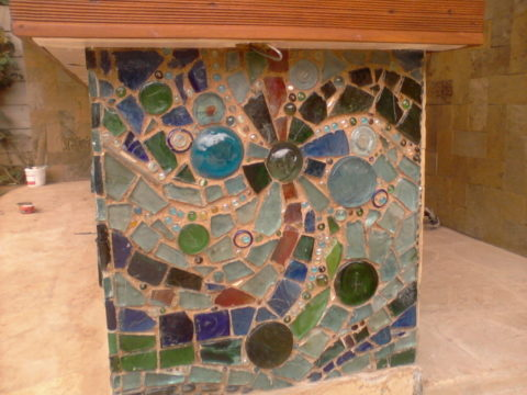 The River Mosaic: Dale blocks Style: Stylised Theme: Nature african mosaic art by Kenyan artist