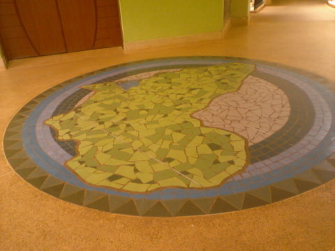 Africa Mosaic: Granito tiles Education. Installed at St. Christopher school Karen, Nairobi. Style: Stylised Theme: Geography african mosaic art by Kenyan artist