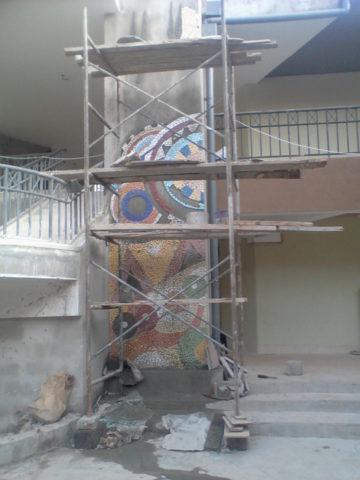 Maasai court, detail Mosaic: Ceramic tiles Style: Stylised Theme: Culture african mosaic art by Kenyan artist