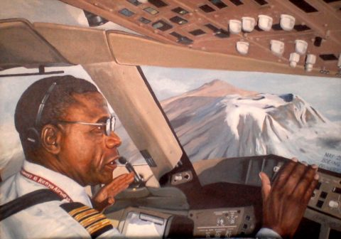 Pilot Painting: Oil on canvas Delivering boeing jet. kilimanjaro view. High in the sky. Style: Realism Theme: Portrait - Portrait by Kenyan Artist in Nairobi, Kenya