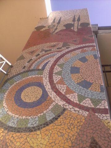 Maasai court Mosaic: Ceramic tiles Style: Stylised Theme: Culture african mosaic art by Kenyan artist