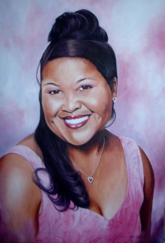 Young Woman Painting: Oil on canvas Young smiling lady. Straight coloured African hair. Style: Realism Theme: Portrait - Portrait by Kenyan Artist in Nairobi, Kenya