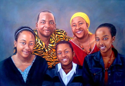 Family Painting: Oil on canvas Happy family. The composition combined different colour and pattern relationships. Style: Realism Theme: Portrait - Portrait by Kenyan Artist in Nairobi, Kenya