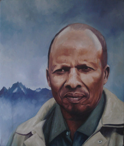 Mt Kenya mzee 2 Painting: Oil on canvas Impasto oil paint application, The piece was created with thick layers of oil colour application. Mount kenya in the background. Style: Realism Theme: Portrait - Portrait by Kenyan Artist in Nairobi, Kenya
