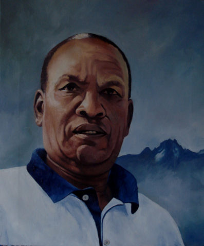 Mt Kenya Mzee 1 Painting: Oil on canvas Impasto oil paint application, The piece was created with thick layers of oil colour application. Mount kenya in the background. Style: Realism Theme: Portrait - Portrait by Kenyan Artist in Nairobi, Kenya