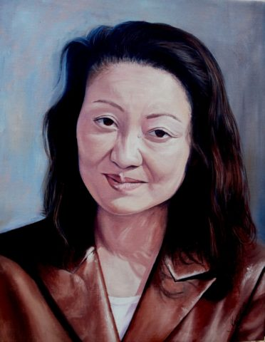 Japanese Lady Painting: Oil on canvas Leather jacket , shandows and highlights. Style: Realism Theme: Portrait - Portrait by Kenyan Artist in Nairobi, Kenya
