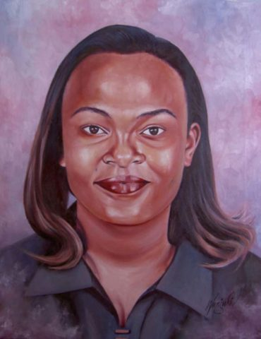 Young woman Painting: Oil on canvas I enjoyed using lilac for highlights. Straight coloured African hair. Style: Realism Theme: Portrait - Portrait by Kenyan Artist in Nairobi, Kenya