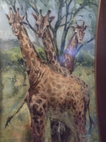 Majestic three Painting: Acrylic on canvas Inspired by Lake Naivasha. the giraffes are an amazing subject Style: Expressionism Theme: Wildlife painting by Kenyan artist