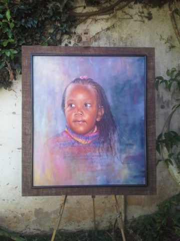 Nyambura Painting: Oil on canvas My most favourite portrait. Blended the fabric with the background. Young girl Style: Realism Theme: Portrait painting by Kenyan artist
