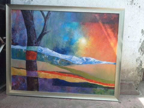 Layers Painting: Acrylic on canvas Expressive colours were used to capture hills and valleys. Style: Expressionism Theme: Landscape painting by Kenyan artist