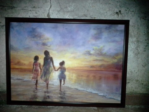 Chasing the sun Painting: Acrylic on canvas Walking on the beach barefeet. Sunset, sundowner things. Style: Realism Theme: Seascape painting by Kenyan artist