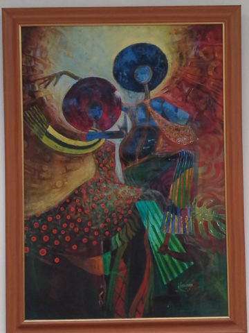 Midnight dance Painting: Acrylic on canvas Afro. The piece is inspired by tbe music of the 60's and 70's Style: Semi abstract Theme: Dance painting by Kenyan artist